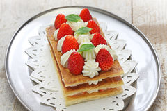 Strawberry mille feuille, French pastry Royalty Free Stock Images