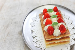 Strawberry mille feuille, French pastry Royalty Free Stock Photo