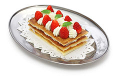 Strawberry mille feuille, French pastry Stock Image