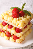 Strawberry millefeuille with cream Patissiere close-up on a plate Stock Photo