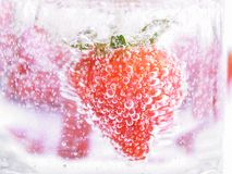 Strawberry in Mineral water with boobles Royalty Free Stock Photos