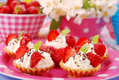 Strawberry mini tartlets Stock Image