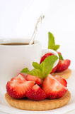 Strawberry with a mint Stock Photography