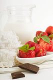 Strawberry with a mint and chocolate Stock Photo