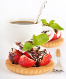 Strawberry with a mint and chocolate Stock Photos