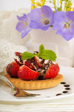 Strawberry with a mint and chocolate Stock Image