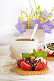 Strawberry with a mint and chocolate Royalty Free Stock Photography