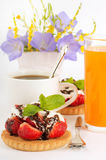 Strawberry with a mint and chocolate, cup of coffe Stock Image