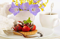 Strawberry with a mint and chocolate, cup of coffe Royalty Free Stock Image