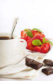 Strawberry with a mint and cup Stock Photography