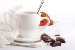 Strawberry with a mint and cup of coffee Stock Photography