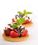 Strawberry with a mint and cup of coffee, summer f Royalty Free Stock Photo