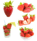 Strawberry  mixed. Mixed strawberry collection on a white background Stock Photo