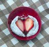 Strawberry Mochi or Ichigo Daifuku in Japanese Bowl Stock Image
