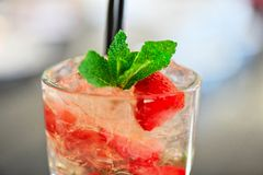 Strawberry mohito cocktail Royalty Free Stock Images