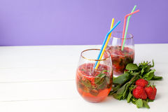 Strawberry mohito cocktail Royalty Free Stock Photography