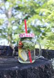 Strawberry Mojito cocktail with strawberry, lemon and fresh mint a glass jar with a cocktail straw. Stock Photos