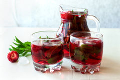 Strawberry mojito cocktail with mint and ice   selective focus Royalty Free Stock Image