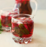 Strawberry mojito cocktail with mint and ice selective focus Royalty Free Stock Photos