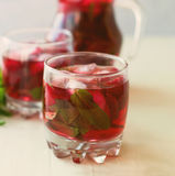 Strawberry mojito cocktail with mint and ice   selective focus Stock Photo