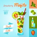 Strawberry Mojito Cocktail Set. Vector illustration, eps10. Royalty Free Stock Photo