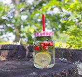 Strawberry Mojito cocktail with strawberry, lemon and fresh mint a glass jar with a cocktail straw. Stock Photography
