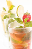 Strawberry Mojito Cocktail vertical view close up Stock Photography