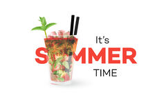 Strawberry Mojito Coctail Isolated On White Background. Seasonal Summer Conceptual Banner. Vector Design Element.  Stock Photo