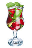 Strawberry mojito. In hurricane glass. Cold refreshing cocktail with lime and mint. Elevated view Royalty Free Stock Photo