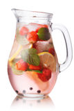 Strawberry mojito jug. Glass pitcher of strawberry mojito Stock Image