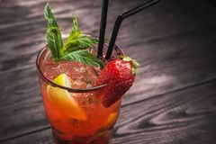 Strawberry Mojito with lemon Stock Photo