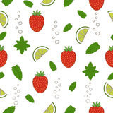 Strawberry mojito seamless pattern. Hand drawn illustration. Nature organic style stock illustration