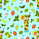 Strawberry Mojito Seamless Pattern. Vector illustration, eps10. Stock Images