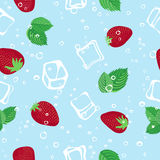Strawberry mojito seamless vector pattern on blue background. Strawberry mojito seamless vector pattern.  Ice cubes, strawberry and mint illustration on blue Stock Photography