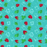 Strawberry mojito seamless vector pattern. Royalty Free Stock Photos