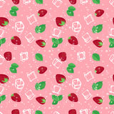 Strawberry mojito seamless vector pattern on pink background. Strawberry mojito seamless vector pattern. Ice cubes, strawberry and mint illustration stock illustration