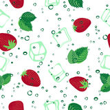 Strawberry mojito seamless vector pattern on white background. Strawberry mojito seamless vector pattern.  Ice cubes, strawberry and mint illustration on white Stock Images