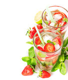 Strawberry mojito summer cocktail drink Royalty Free Stock Image