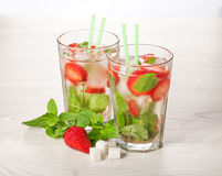 Strawberry mojito summer cocktail drink Royalty Free Stock Photos