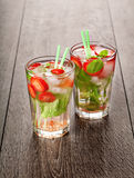 Strawberry mojito summer cocktail drink Stock Photo