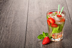 Strawberry mojito summer cocktail drink Royalty Free Stock Photography