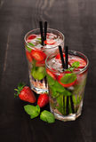 Strawberry mojito summer cocktail drink Royalty Free Stock Images