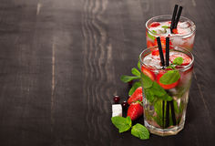Strawberry mojito summer cocktail drink Stock Photography