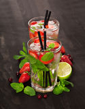 Strawberry mojito summer cocktail drink Stock Images