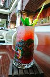 Strawberry Mojito on the table in the restaurant in Odessa royalty free stock photos
