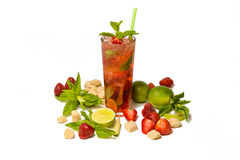 Strawberry mojito with a tube royalty free stock image
