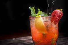 Strawberry Mojito With Lemon Royalty Free Stock Images