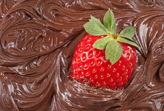 Strawberry with molten chocolate Royalty Free Stock Photos
