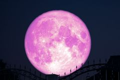 Free Strawberry Moon On Night Sky Back Silhouette Stainless Steel Iron Fence Royalty Free Stock Images - 150431479