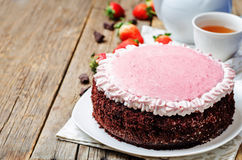 Strawberry mousse brownie cake Stock Photo
